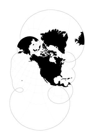 World contour. Modified stereographic projection for the United States including Alaska and Hawaii. Plan world geographical map with graticlue lines. Vector illustration. Illusztráció