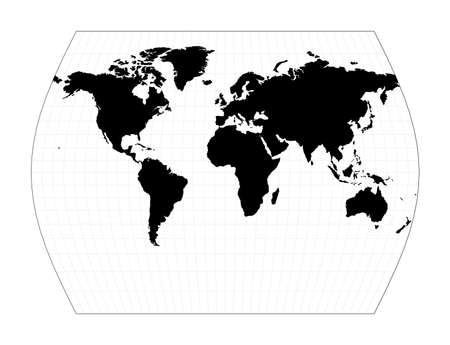 World contour. John Muirs Times projection. Plan world geographical map with graticlue lines. Vector illustration.