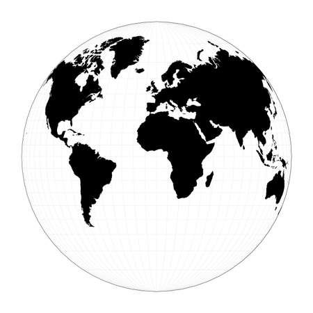 Vector world map. Gilberts two-world perspective projection. Plan world geographical map with graticlue lines. Vector illustration. Illusztráció