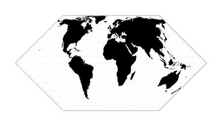 Map of the world illustration. Eckert II projection. Plan world geographical map with graticlue lines. Vector illustration. Illusztráció