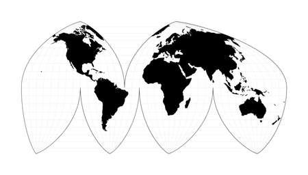 World map with meridians. Boggs interrupted eumorphic projection. Plan world geographical map with graticlue lines. Vector illustration.