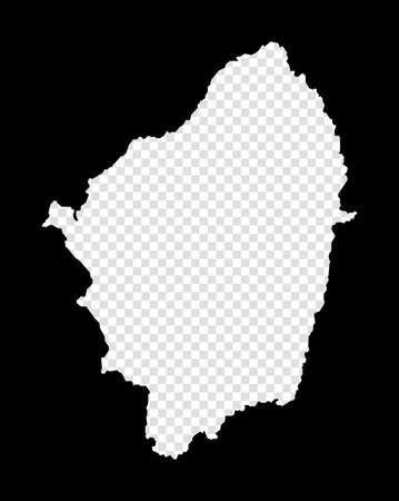 Stencil map of Naxos. Simple and minimal transparent map of Naxos. Black rectangle with cut shape of the island. Artistic vector illustration.