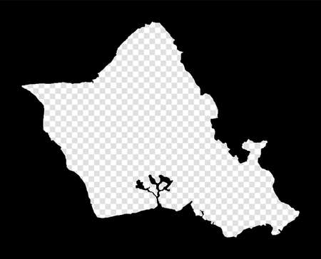 Stencil map of Oahu. Simple and minimal transparent map of Oahu. Black rectangle with cut shape of the island. Awesome vector illustration. Illusztráció