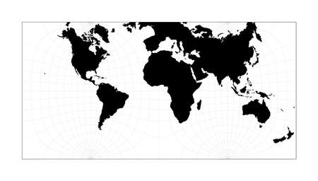 World contour. Guyou hemisphere-in-a-square projection. Plan world geographical map with graticlue lines. Vector illustration.