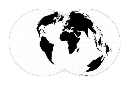 Abstract map of world. Rectangular (War Office) polyconic projection. Plan world geographical map with graticlue lines. Vector illustration.