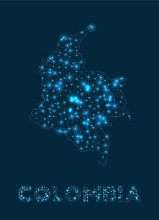 Colombia network map. Abstract geometric map of the country. Internet connections and telecommunication design. Superb vector illustration. Illustration