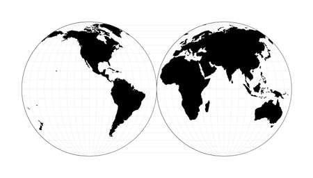 World shape. Mollweide projection interrupted into two (equal-area) hemispheres. Plan world geographical map with graticlue lines. Vector illustration.