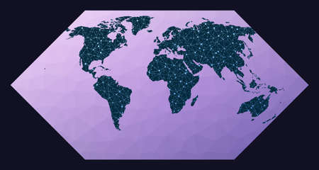 Illustration of global network. Eckert I projection. World network map. Wired globe in Eckert 1 projection on geometric low poly background. Amazing vector illustration.