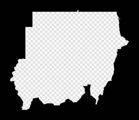 Stencil map of Sudan. Simple and minimal transparent map of Sudan. Black rectangle with cut shape of the country. Cool vector illustration.