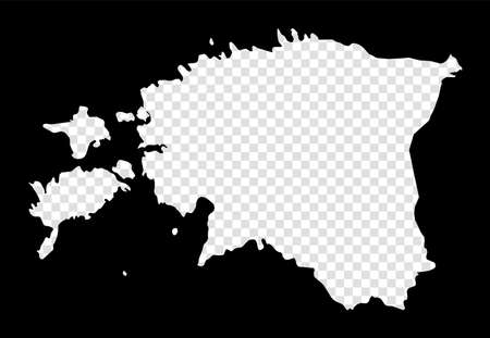 Stencil map of Estonia. Simple and minimal transparent map of Estonia. Black rectangle with cut shape of the country. Cool vector illustration.