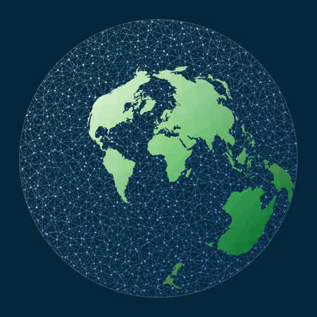 Global internet business concept. Airy projection. Green low poly world map with network background. Amazing connections map for infographics or presentation. Vector illustration. Ilustrace