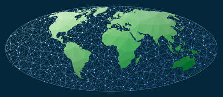 Communications map of the world. Bromley projection. Green low poly world map with network background. Creative connections map for infographics or presentation. Vector illustration. Ilustrace
