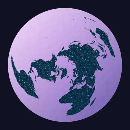 Global network. Wiechel projection. World network map. Wired globe in Wiechel projection on geometric low poly background. Elegant vector illustration.