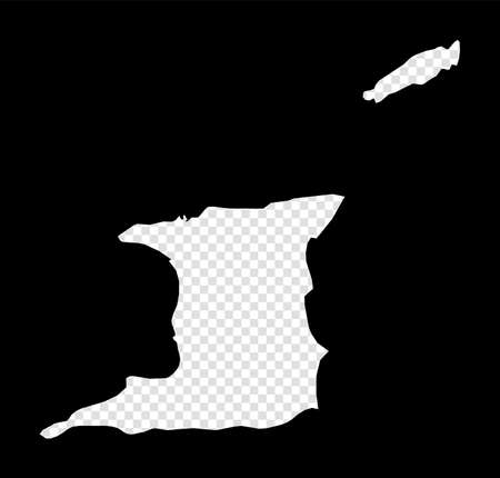 Stencil map of Trinidad and Tobago. Simple and minimal transparent map of Trinidad and Tobago. Black rectangle with cut shape of the country. Classy vector illustration.