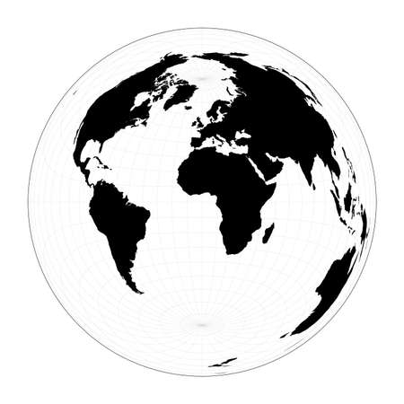 World map with longitude lines. Lambert azimuthal equal-area projection. Plan world geographical map with graticlue lines. Vector illustration. Stock Illustratie