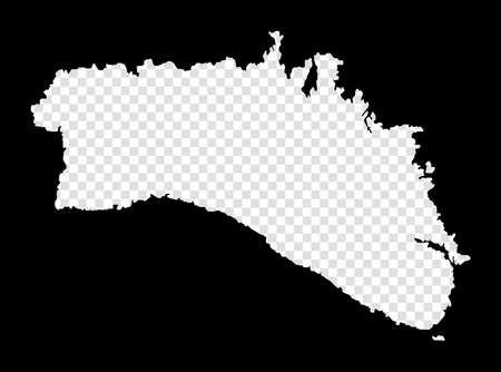 Stencil map of Minorca. Simple and minimal transparent map of Minorca. Black rectangle with cut shape of the island. Superb vector illustration. Ilustracja