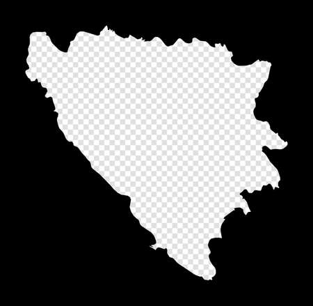 Stencil map of Bosnia. Simple and minimal transparent map of Bosnia. Black rectangle with cut shape of the country. Artistic vector illustration.