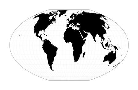 Minimal world map. McBryde-Thomas flat-polar quartic pseudocylindrical equal-area projection. Plan world geographical map with graticlue lines. Vector illustration.