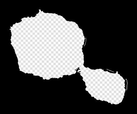 Stencil map of Tahiti. Simple and minimal transparent map of Tahiti. Black rectangle with cut shape of the island. Charming vector illustration. Иллюстрация