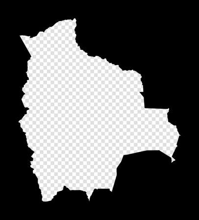 Stencil map of Bolivia. Simple and minimal transparent map of Bolivia. Black rectangle with cut shape of the country. Authentic vector illustration.