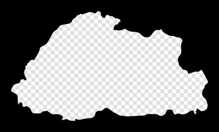 Stencil map of Bhutan. Simple and minimal transparent map of Bhutan. Black rectangle with cut shape of the country. Captivating vector illustration. Vettoriali