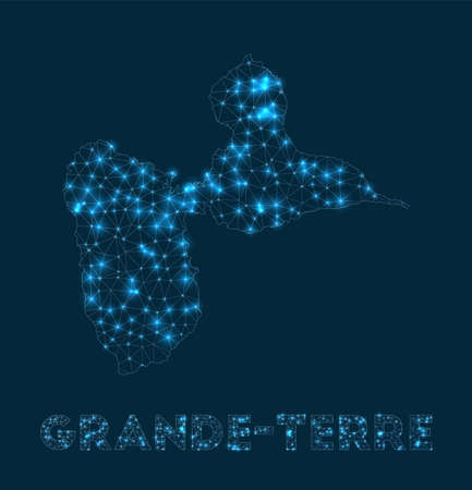 Grande-Terre network map. Abstract geometric map of the island. Internet connections and telecommunication design. Attractive vector illustration.