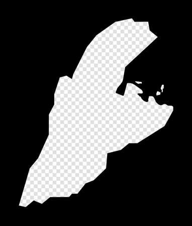 Stencil map of Kastellorizo. Simple and minimal transparent map of Kastellorizo. Black rectangle with cut shape of the island. Astonishing vector illustration.