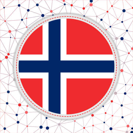 Flag of Norway with network background. Norway sign. Beautiful vector illustration.