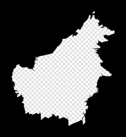 Stencil map of Borneo. Simple and minimal transparent map of Borneo. Black rectangle with cut shape of the island. Vibrant vector illustration.