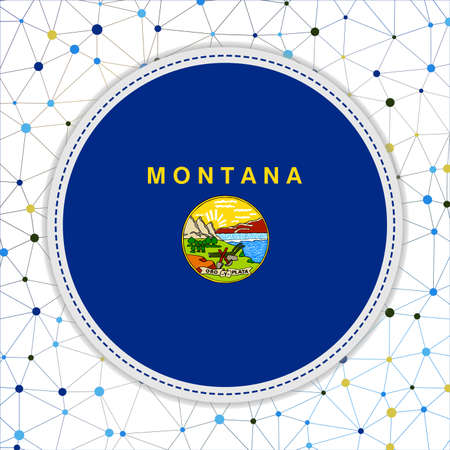 Flag of Montana with network background. Montana sign. Vibrant vector illustration.