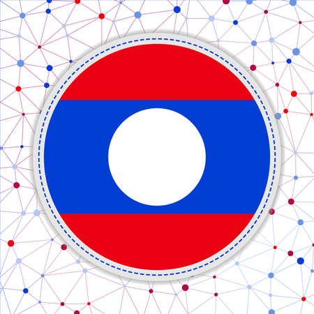 Flag of Laos with network background. Laos sign. Creative vector illustration.
