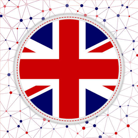 Flag of United Kingdom with network background. United Kingdom sign. Cool vector illustration.