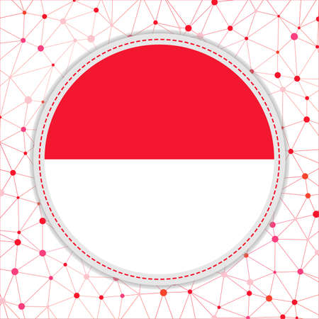 Flag of Monaco with network background. Monaco sign. Astonishing vector illustration. 일러스트