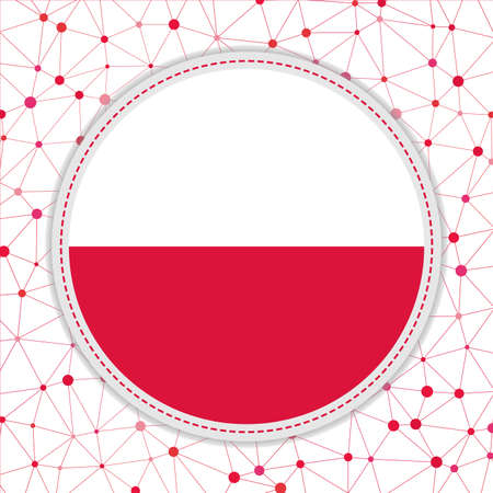 Flag of Poland with network background. Poland sign. Stylish vector illustration.