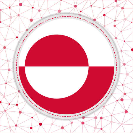 Flag of Greenland with network background. Greenland sign. Amazing vector illustration.