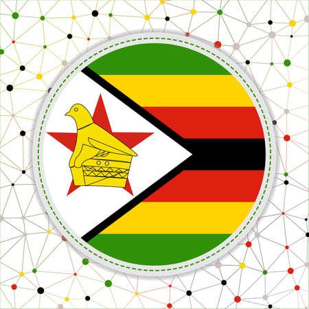 Flag of Zimbabwe with network background. Zimbabwe sign. Stylish vector illustration. 일러스트