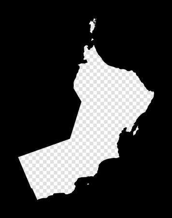 Stencil map of Oman. Simple and minimal transparent map of Oman. Black rectangle with cut shape of the country. Neat vector illustration.
