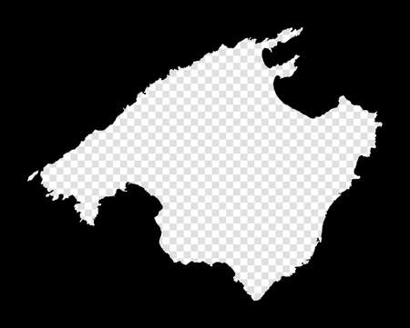 Stencil map of Majorca. Simple and minimal transparent map of Majorca. Black rectangle with cut shape of the island. Cool vector illustration. Иллюстрация