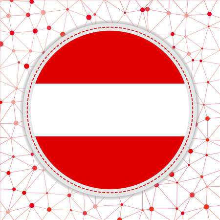 Flag of Austria with network background. Austria sign. Neat vector illustration.