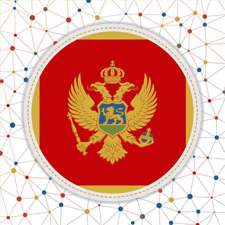 Flag of Montenegro with network background. Montenegro sign. Elegant vector illustration.