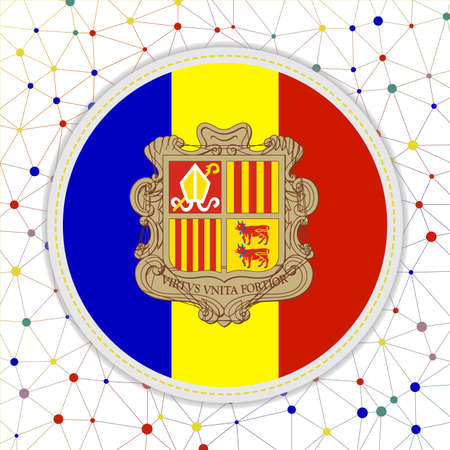 Flag of Andorra with network background. Andorra sign. Awesome vector illustration.