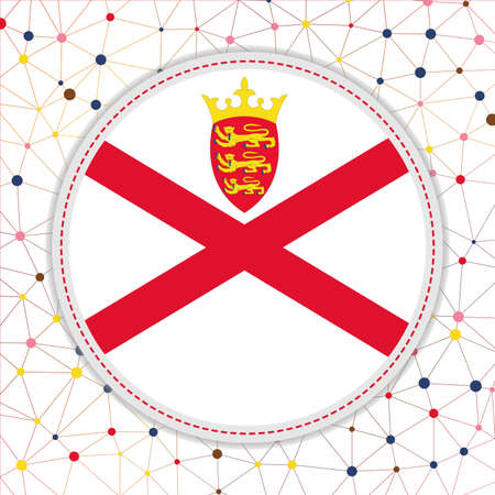 Flag of Jersey with network background. Jersey sign. Amazing vector illustration.