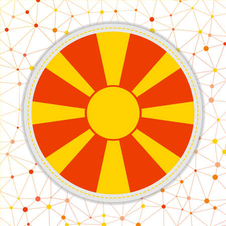 Flag of Macedonia with network background. Macedonia sign. Charming vector illustration.