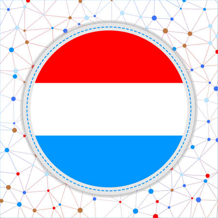 Flag of Luxembourg with network background. Luxembourg sign. Vibrant vector illustration. 일러스트