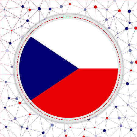 Flag of Czech Republic with network background. Czech Republic sign. Creative vector illustration.