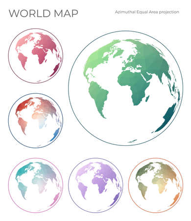 Low Poly World Map Set. Lambert azimuthal equal-area projection. Collection of the world maps in geometric style. Vector illustration.