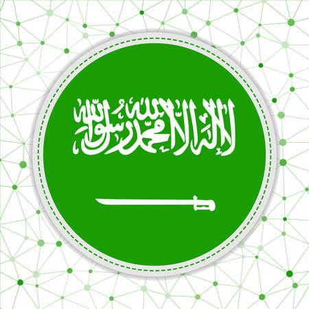 Flag of Saudi Arabia with network background. Saudi Arabia sign. Captivating vector illustration. Vettoriali