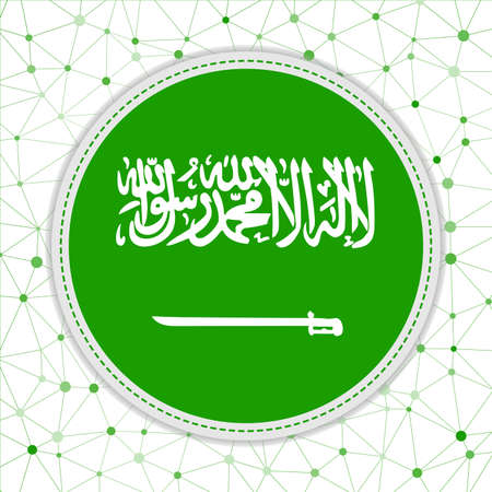 Flag of Saudi Arabia with network background. Saudi Arabia sign. Captivating vector illustration.