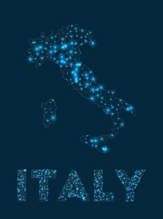 Italy network map. Abstract geometric map of the country. Internet connections and telecommunication design. Stylish vector illustration.