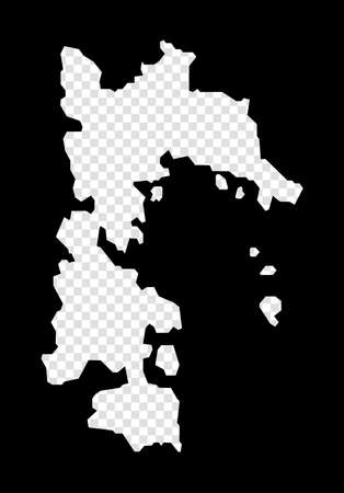 Stencil map of Patmos. Simple and minimal transparent map of Patmos. Black rectangle with cut shape of the island. Neat vector illustration. Иллюстрация